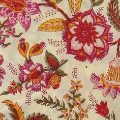 hand printed cotton fabric - pink green and orange floral pattern print on pale yellow - 1 yard - ctjp036. $13.50, via Etsy.