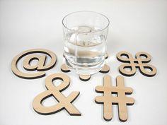 Typographic Character Coasters
