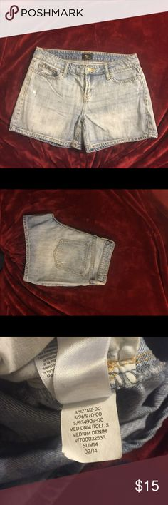 Gap denim shorts.  Medium Gap medium denim shorts....excellent condition!  Sits low on waste.  Equivalent to size woman's size 4 to 6:) GAP Shorts Jean Shorts