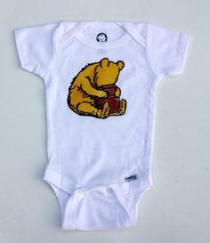 Classic Pooh Inspired Onesie. I love pooh!!!