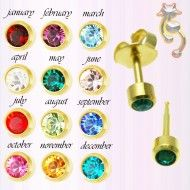 Wholesale Body Jewelry Gold Plated Studs, Birthstones Bezel Body Jewelry ES14 Wholesale Body Jewelry, Birthstones, Gold Jewelry, Studs, Plating, Earrings, Ear Rings, Stud Earrings, Birth Stones