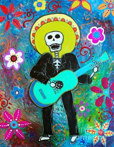 MARIACHI, MY SWEETHEART, LOVE, DIA DE LOS MUERTOS, DAY OF THE DEAD, PRISARTS, PRISTINE CARTERA-TURKUS, FLORALS, FLOWERS, SOMBRERO, GUITAR, GITARA, GITARRA, MUSICO, MUSIKERO, BANDA, CALAVERA, CALACA, MEXICAN ART, RESTAURANT ART, MEXICAN RESTAURANT, OFFICE ART, COLLECTIBLE ART, POPULAR, BEST-SELLER, SKULL