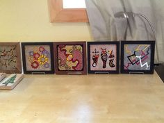 Four new framed art tiles I will be hanging for sale tomorrow!