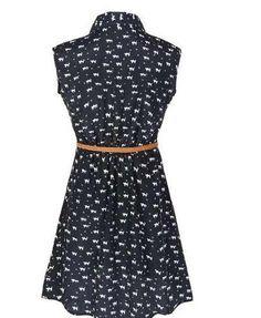 vestido de seda  com cinto  estampa de gatinhos+brinde
