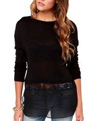 Cheap black sweater, Buy Quality fashion sweater directly from China sweater fashion Suppliers: HYH HAOYIHUI 2017 Summer Women Fashion Lace Chiffon Contrast Crew Neck Long Sleeve Pullover Solid Black Sweater Women's Summer Fashion, Black Sweaters, Women's Sweaters, Sweater Fashion, Cardigans For Women, Street Style Women, Fashion Beauty, Women's Fashion, Clothes For Women