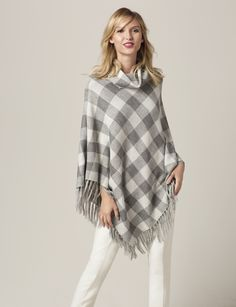 Plaid Cowl Neck Poncho - Clean checks have a relaxed and trendy look, in a soft fabric that's all about traditional comfort. Pair this poncho with faux leather skinnies to keep your updated look going!