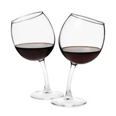 """Tipsy"" wine glasses, by UncommonGoods (http://www.uncommongoods.com/product/tipsy-wine-glasses)"