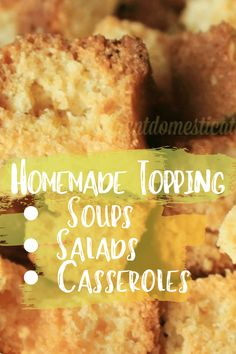 Make your own topping for soups, salads and casseroles! Cornbread Croutons are very easy to bake in your oven using homemade cornbread. You can use a box mix or feel free to print our Cornbread Recipe. Fun Easy Recipes, Summer Recipes, Holiday Recipes, Easy Meals, Frugal Recipes, Delicious Recipes, Casserole Recipes, Crockpot Recipes, Meal Recipes