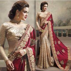 Jhilmilla maroon lace embroidered saree
