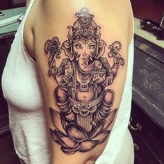 Love doing these! More please! #ganesha#ganeshatattoo#blackandgrey#blackandgreytattoo#girlytattoo