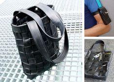 borse e porta-cellulare realizzati con camere d'aria di bici riciclate