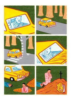 옆의 죽은 사람보다도찌그러진 자동차를 더 걱정하는 모습.하나의 생명보다자신에게 속해있는 소유물을더 소중하게 여기는물질만능주의를 비판한다.