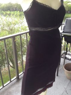 Dress by To The Max, Size Medium Sexy Lace Trim Knit Empire,Black & Burgandy EUC #ToTheMax #StretchBodycon #Casual