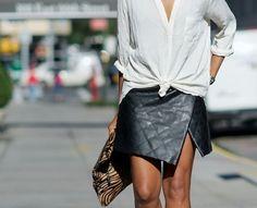 leather + a crisp white shirt