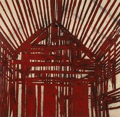 From Ben Brown Fine Arts, Tony Bevan, Red Interior Acrylic and charcoal on canvas, 212 × cm Watts Towers, Frieze Masters, Ben Brown, List Of Artists, Artist List, Constructivism, A Level Art, Red Interiors, Colorful Paintings