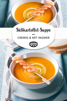 Süßkartoffel-Ingwer-Suppe Sweet potato and ginger soup: Cream soup with sweet potatoes and a fresh n Healthy Eating Tips, Healthy Recipes, Seafood Recipes, Chicken Recipes, Easy Dinner Recipes, Easy Meals, Brunch, Sweet Potato Soup, Vegetable Drinks