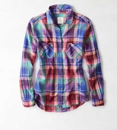 AEO Plaid Girlfriend Shirt. Check yourself. #AEOSTYLE