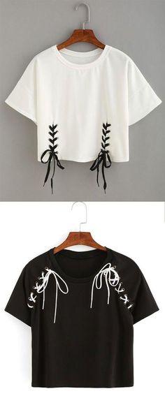 Double lace-up hem crop t-shirt . ♥ my closet ♥ diy shirt, diy fashion, diy Tumblr Shirt, Diy Camisa, Vêtement Harris Tweed, Diy Kleidung, Diy Vetement, Customise T Shirt, T Shirt Diy, Diy Tshirt Ideas, Diy Shirts No Sew