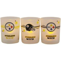"""NFL Pittsburgh Steelers Holiday 3-Pack LED Candle Set by Football Fanatics. Save 17 Off!. $12.50. Pittsburgh Steelers Holiday 3-Pack LED Candle SetTeam colors and logosOfficially licensed NFL productImportedPlastic frosted votive holdersUses one CR2032 battery (included)Three votive holders and three LED candles per packageScreen printed designsBatteries includedVotive measures 2.5"""" tall with a 2"""" diameter openingPlastic frosted votive holdersVotive measures 2.5"""" tall with a 2"""" diameter ope...."""