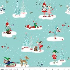 Riley Blake Fabric Pixie Noel Christmas Kiss Aqua HALF METRE