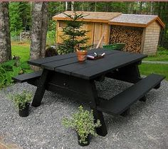 I love the black picnic table. And just the idea of painting a picnic table. Smart.