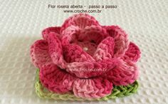 Flor roseta aberta passo a passo http://www.croche.com.br/flor-roseta-aberta-passo-a-passo/