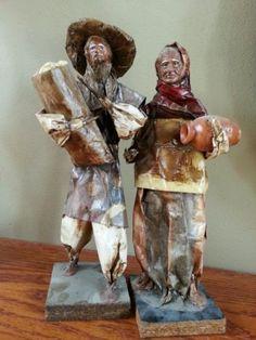 Vintage Mexican Folk Art Paper Mache Dolls   eBay
