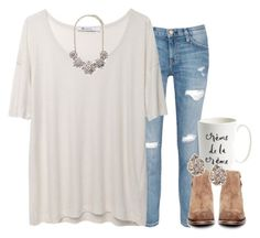 """""""morning coffee date"""" by preppy-southern-gals ❤ liked on Polyvore featuring Current/Elliott, T By Alexander Wang, Kate Spade, H by Hudson, Forever 21, Kendra Scott, women's clothing, women's fashion, women and female"""