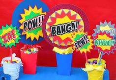 SUPERHERO Party Circles or Party Bursts  for by KROWNKREATIONS,