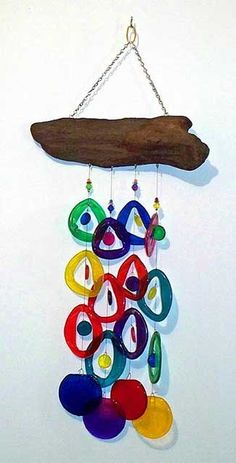 Colorful glass windchimes made from recycled bottles