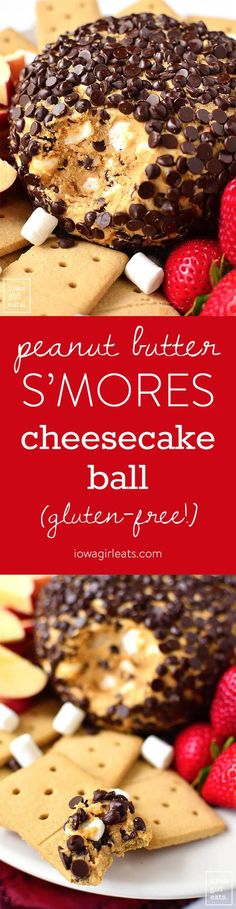 Peanut Butter S'Mores Cheesecake Ball is ridiculously delicious and assembles in just 10 minutes. The perfect gluten-free party treat for summer or any time of year! | iowagirleats.com