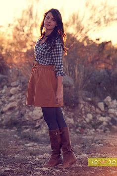 plaid & brown skirt