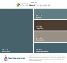 I found these colors with ColorSnap® Visualizer for iPhone by Sherwin-Williams: Real Red (SW Knockout Orange (SW Forward Fuchsia (SW Tricorn Black (SW Gray Screen (SW Exterior Color Palette, Exterior Paint Colors For House, Paint Colors For Home, Exterior Colors, Brown Roof Houses, Brown Roofs, Dinning Room Colors, Brown Paint Colors, Blue Roof