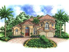 117 best Mediterranean House Plans images on Pinterest   Adobe house     037H 0028  Mediterranean House Plan  4 Bedrooms  4 5 Baths