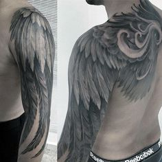 Angel Wing Feathers Awesome Mens Hafl Sleeve Tattoos