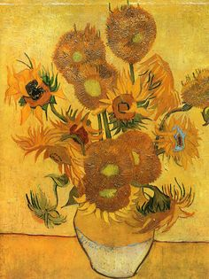 Vase with Fifteen Sunflowers by Vincent van Gogh | Lone Quixote | #VincentvanGogh #vangogh #PostImpressionism #art #painting #sunflowers #flowers