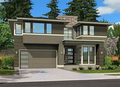 Architectura Designs Modern House Plan - Just over square feet, master up with 3 more bedrooms and a bonus room over the garage. Modern Tiny House, Modern House Design, Modern Houses, House Siding, Level Homes, Outdoor Living Areas, House Floor Plans, Great Rooms, Architecture Design