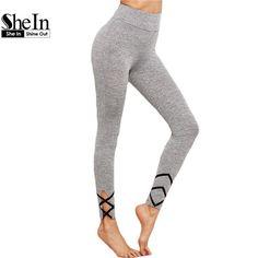SheIn Womens Bottoms 2016 Grey Workout Clothes for Women Crisscross Ma                      – Aspire101