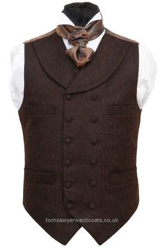 Traditional Waistcoats : Steampunk Waistcoats : Brown Tweed Victorian/Steampunk High Neck Double-Breasted Waistcoat with Shawl Collar