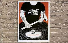 "'Henry Rollins' by Ryan Duggan of Drug Factory Press Hand screen printed poster 17.5""x23""  http://www.galerief.com/portfolio-type/artist/drug-factory-press"