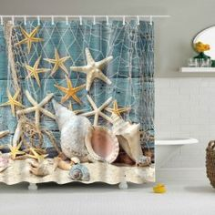 Waterproof Starfish and Shell Printed Bath Shower Curtain - COLORMIX