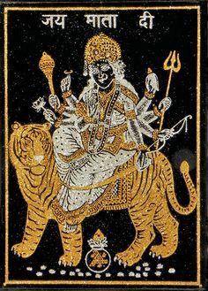 Bhagawati - (Golden and Silver Glitter Painting) (Glitter Painting on Velvet Cloth - Unframed)