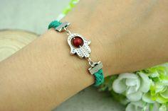 Green Leather  braceletSilvery  Hand  by Evanworld on Etsy, $1.99