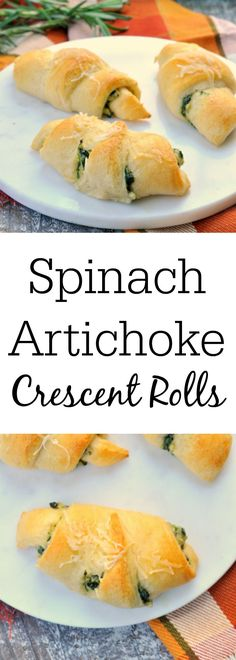 Spinach Artichoke Crescent Rolls – An Immaculate Holiday Appetizer – My Suburban Kitchen – Appetizers Crescent Rolls, Crescent Roll Recipes, Vegetarian Appetizers, Easy Appetizer Recipes, Yummy Recipes, Recipies, Delicious Appetizers, Dip Recipes, Snack Recipes