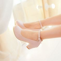 Spring and autumn classics buckle strap shoes round toe with high heels zapatos mujer sweet pink white size women's shoes Dr Shoes, Pump Shoes, Me Too Shoes, Shoes Heels, Pumps, Pretty Shoes, Beautiful Shoes, Kawaii Shoes, Aesthetic Shoes