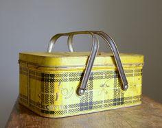 Vintage 1950s Metal Nesco Picnic Basket .. Yellow and Black Plaid