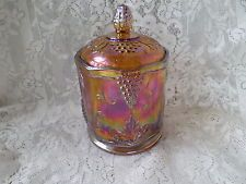 Indiana Carnival Glass Harvest Grape Iridescent Marigold / Amber Biscuit Jar.