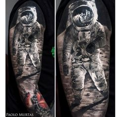 """#apollo#11#neilarmstrong#moonwalk#fullsleeve#space#galaxy#thebesttattooartist#tattooistartmag #universe#inked#paolomurtastattoo"""