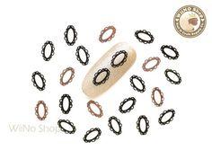 Black Oval Lace Frame Ultra Thin Metal Decoration Nail Art - 25 pcs