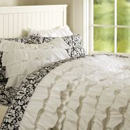 Black & White Ruffly Bedspread.